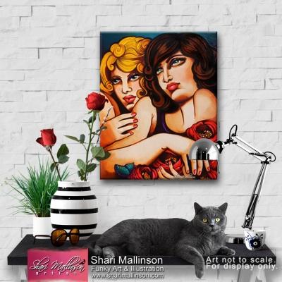 Women and Peonies original painting
