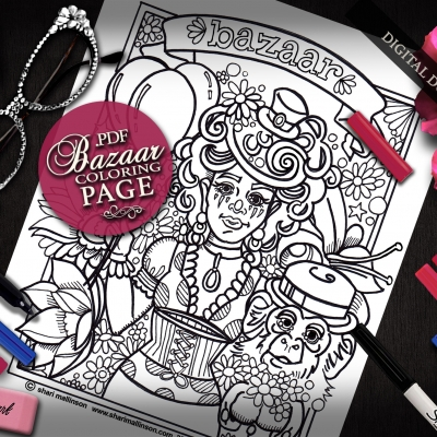 Bazaar Coloring Page, Everyday Goddess Series
