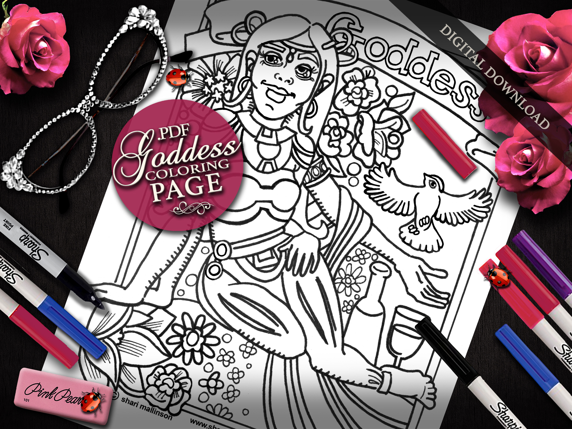 Goddess Coloring Page, Everyday Goddess Series