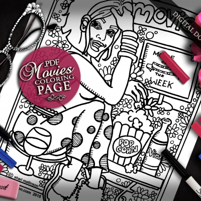 Movies Coloring Page, Everyday Goddess Series