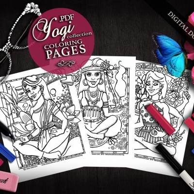 Yogi Collection; Zen, Peace & Meditate Coloring Pages, Everyday Goddess Series