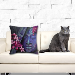 Buddha's Cherry Blossoms, Throw Pillow