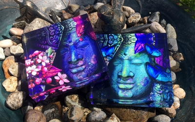 BUDDHA'S BUTTERFLIES AND BUDDHA'S CHERRY BLOSSOM ART PRISMS