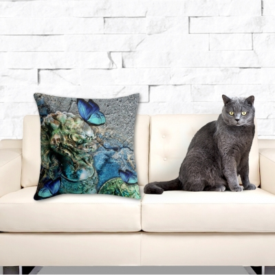 Water Foo Dog, Throw Pillow