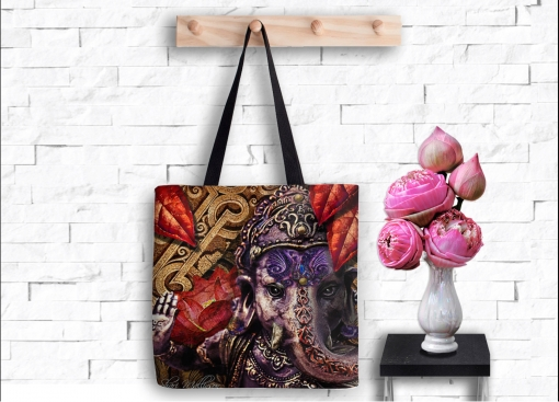 Ganesh's Fire Lotus, Tote Bag